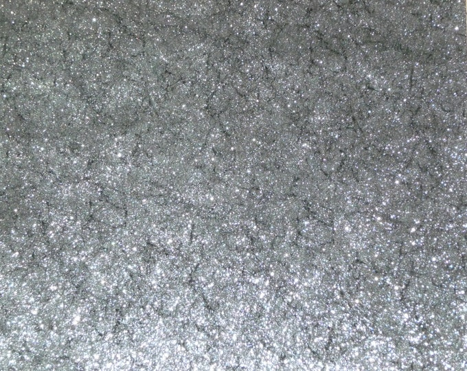 "Metallic Leather 8""x10"" Vintage Crackle SILVER Metallic on BLACK Suede 3-3.5 oz / 1.2-1.4 mm PeggySueAlso™ E2844-05"