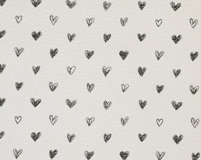 "Leather 8""x10"" Tiny SKETCHED Black hearts on White Cowhide 2.5-3 oz/ 1-1.2 mm PeggySueAlso™ E1380-07 Valentines day"