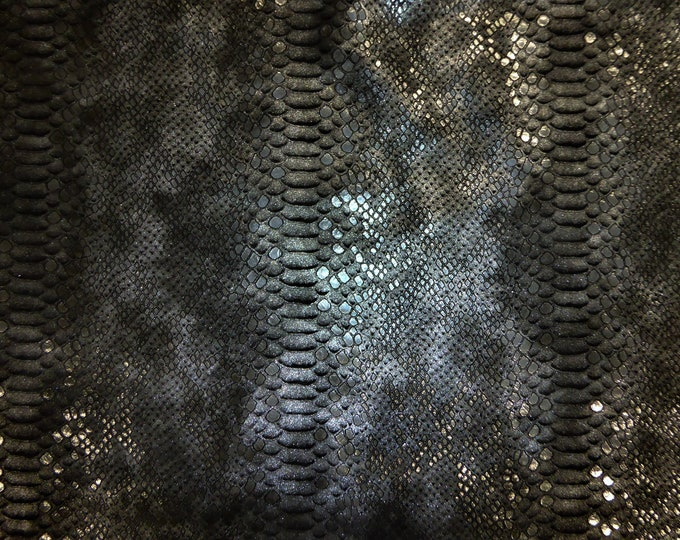 "Metallic Leather 12""x12"" Mystic Python Multi SILVER on BLACK thick Calfskin 4.25oz / 1.8mm PeggySueAlso™ E2868-48"