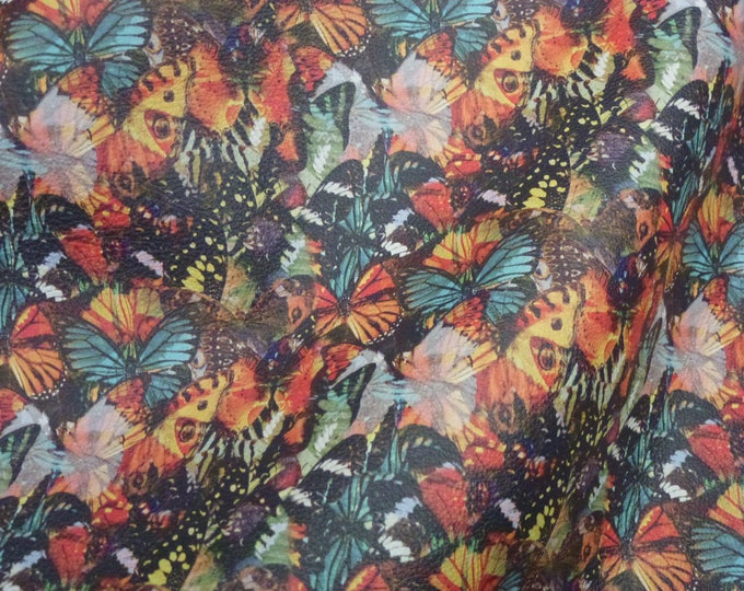 "Leather 12""x20"" or 10""x24"" or ? BUTTERFLIES on NAPA Cowhide 2.5 oz / 1 mm PeggySueAlso™ E6520-01"