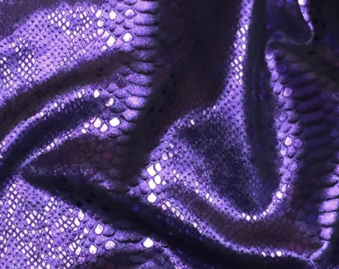 "Metallic Leather 12""x20"" 15""x15"", 10""x20"" Mystic Python PURPLE Grape on BLACK Cowhide 3.5 oz/1.4 mm PeggySueAlso™ E2868-71 hides available"