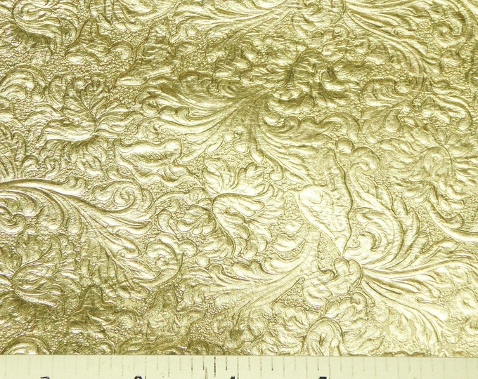 Metallic Leather 3 to 6 sq ft Western SADDLE embossed GOLD  SOFT Cowhide thin 2 oz/0.8 mm PeggySueAlso™ E2816-12 hides available