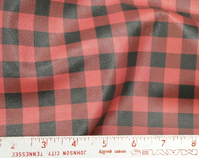 """Leather 4 pieces 4""""x6"""" Mini Buffalo Plaid RED and BLACK Cowhide 2 oz/ 0.8 mm #186 PeggySueAlso™ E1180-01 Hides available"""
