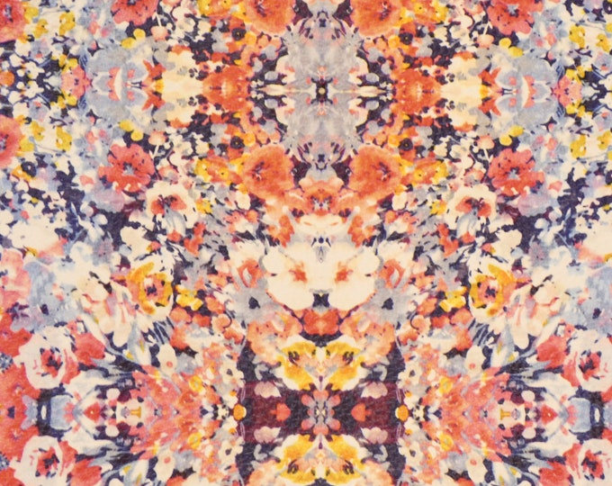 """ReSTOCKED Leather 12""""x12"""" MASS of WATERCOLOR FLOWERS on Navy cowhide 3-3.25oz /1.2-1.3 mm PeggySueAlso™ E1676-01"""