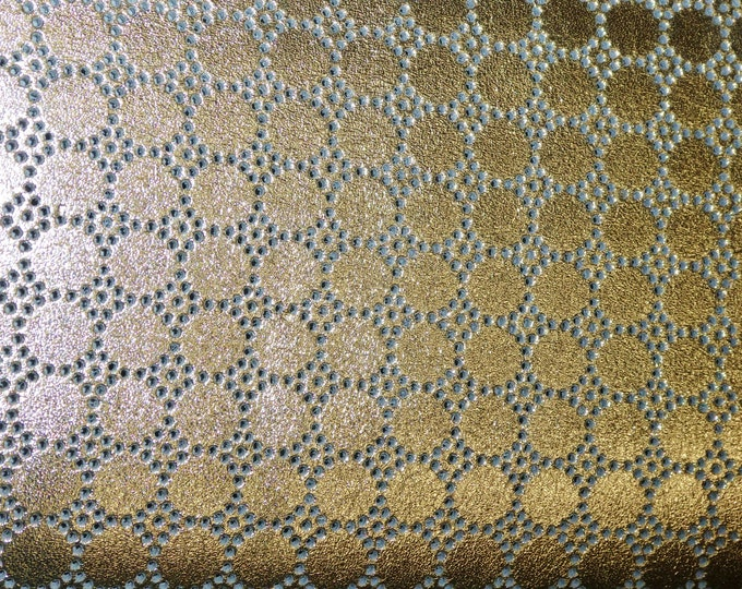 """Metallic Leather 8""""x10"""" Swiss Dot Perforated GOLD on Gray Cowhide 3.5 oz / 1.4 mm PeggySueAlso™ E7100-08 Hides available"""