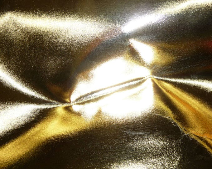 """Metallic Leather 12""""x12"""" smooth Gold Foil Cowhide 2.5-3 oz / 1-1.2 mm PeggySueAlso™ E2485-15 Full hides available"""