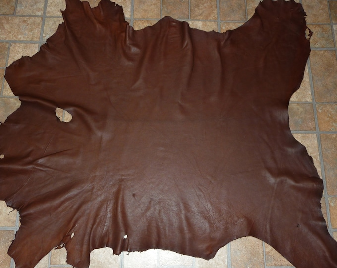 Leather 8 - 9 sq ft DARK Chocolate Cationic Goatskin Hide (a hide similar to this one) 2.5-2.75 oz / 1-1.1 mm PeggySueAlso™ E2787-05