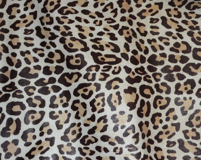 "Leather 12""x12"" Almond LARGE Cheetah / Leopard Print Grain NOT hair on Cowhide 2.5 oz / 1 mm PeggySueAlso™ E5000-01"