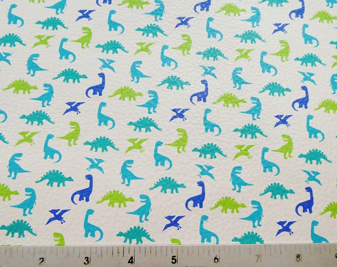"TOY DINOSAURS Leather 12""x12"" Blue and Green cowhide 2-2.5 oz / 0.8-1 mm PeggySueAlso™ E4300-01"
