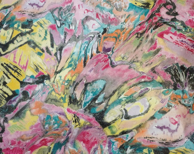 """Leather 12""""x20"""" + Pink Yellow Black Orange Teal Multicolored Abstract COWHIDE 2.75-3 oz/1.1-1.2 mm PeggySueAlso™ E2176-09 hides available"""