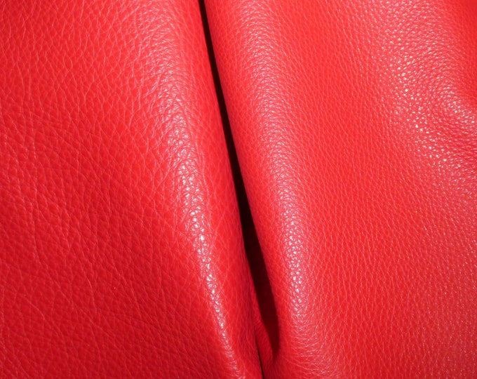"Brightest Red we have! Leather 8""x10"" Imperial CHRISTMAS RED Pebble Grain THICK yet soft Italian Cowhide 3.75-4oz/1.5-1.6mm E3205-11"