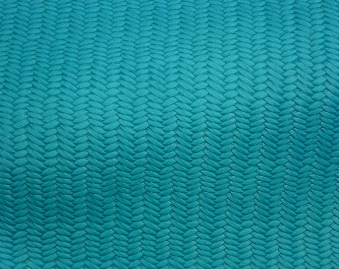 "Leather 8""x10"" Braided Fishtail TURQUOISE SURF  Cowhide 2.5-3 oz / 1-1.2 mm PeggySueAlso™ E3160-66 hides available"