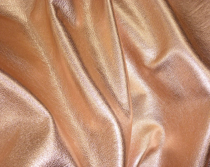"Metallic Leather 5""x11"" pebbled ROSE GOLD Soft Cowhide Shows the Grain 3-3.25 oz / 1.2-1.3 mm #100 PeggySueAlso™ E4100-01 hides available"