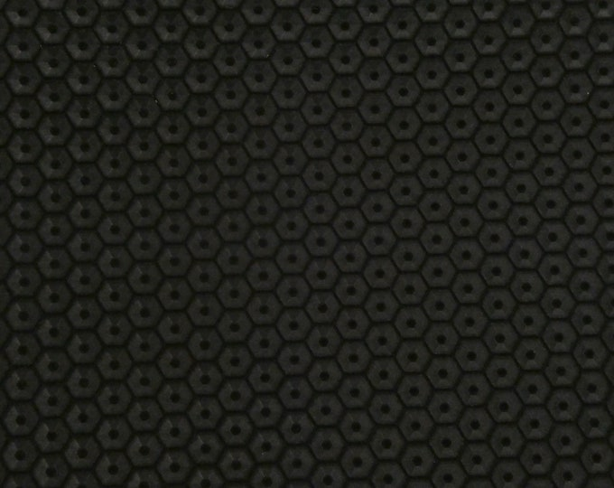 "NEW Leather 8""x10"" HONEYCOMB Italian BLACK Cowhide 3 oz / 1.2 mm PeggySueAlso™ E3173-07 hides available"