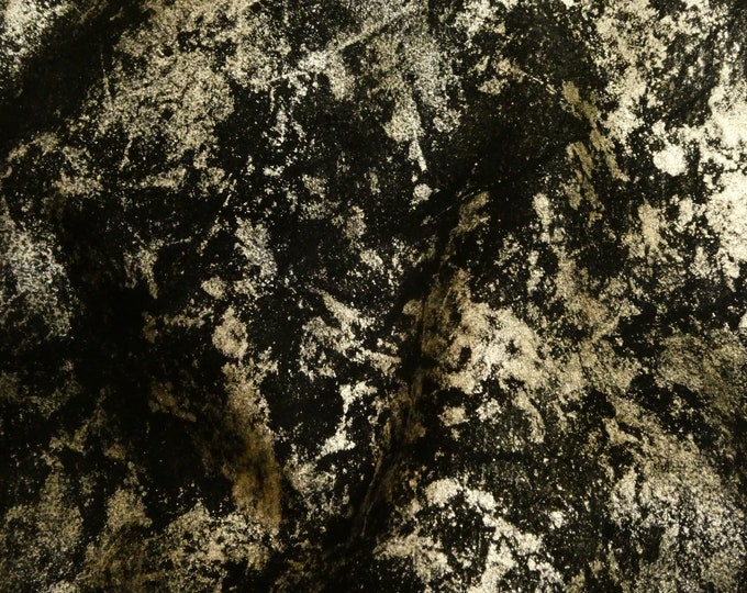 Metallic Leather 3+ sq ft  Northern Lights Metallic PLATINUM on BLACK Suede Cowhide 3.5 oz / 1.4 mm PeggySueAlso™ E6525-07 Hides Available