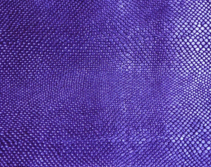 "Metallic Leather 12""x12"" Amazon Cobra PURPLE Snake embossed Cowhide  2.5 oz / 1 mm PeggySueAlso™ E2846-14"
