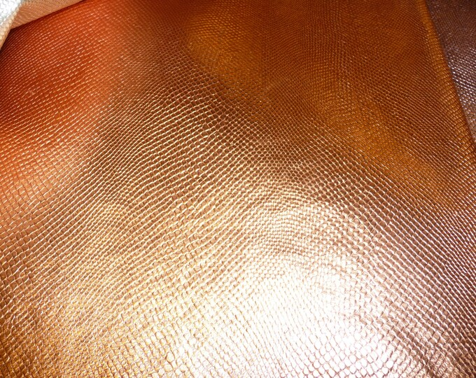 Metallic Leather CLOSEOUT small size various Amazon Cobra COPPER PENNY Embossed Cowhide #100 #386 2.5-3 oz / 1-1.2 mm PeggySueAlso™