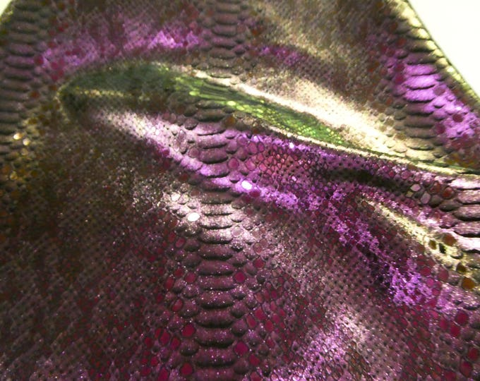"Metallic Leather 8""x10"" Mystic Python Iridescent CHAMELEON on BLACK Calfskin 3.5 oz / 1.4 mm E2868-53 hides available"