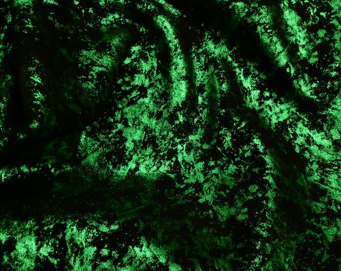 Metallic Leather 3 to 6 sq ft Northern Lights Metallic EMERALD Green on BLACK Cowhide 3.5 oz / 1.4 mm PeggySueAlso™ E6525-02