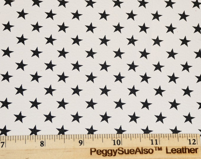 """Leather 8""""x10"""" BLACK STARS on White cowhide 2.5-3 oz / 1-1.2 mm PeggySueAlso™ E2750-05"""