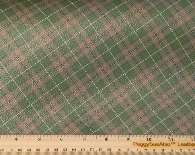 """NEW Leather 12""""x12"""" HUNTERS Green and GRAY Tartan Plaid Print Cowhide 3-3.5 oz / 1.2-1.4 mm PeggySueAlso™ E2178-08"""