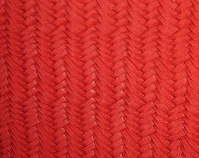 "Leather 12""x12"" Braided Fishtail APPLE RED Soft Cowhide 3 oz / 1.2 mm PeggySueAlso™ E3160-50 Hides Available"