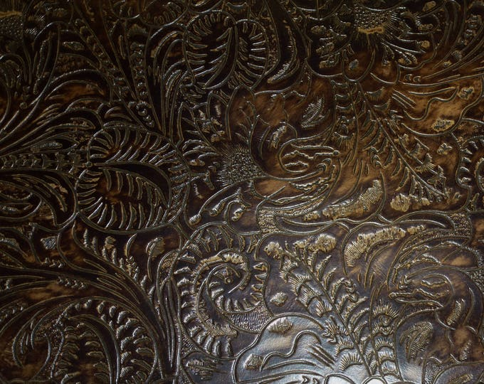 "Leather 20""x20"" Western Tool Floral Leaf DARK CHOCOLATE Brown Embossed Cowhide 3 oz / 1.2 mm PeggySueAlso™ E2838-15 hides available"