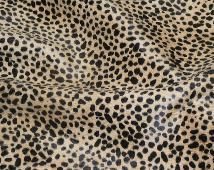 "Hair On Leather 12""x20""+ MINI Wild Cheetah / Leoprd Creamy Camel Brown with Black Spots HOH Cowhide PeggySueAlso™ E2849-02 Hides Available"