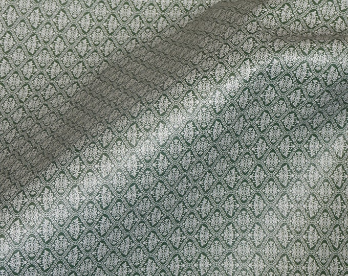"""Genuine Leather 12""""x12"""" White on FOREST GREEN DAMASK Pattern is 1.5"""" across each Damask 3-3.25oz/1.2-1.3 PeggySueAlso E1345-02"""