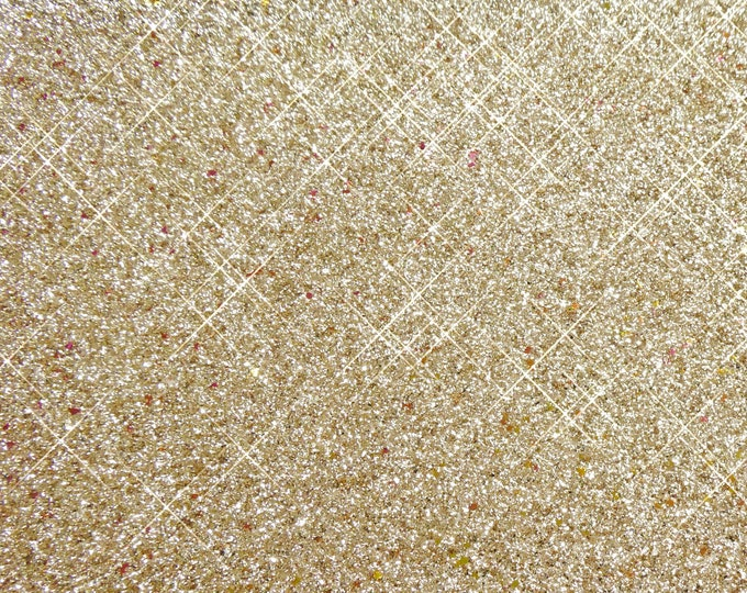 "CHUNKY GLITTER Gold METALLIC 12""x12"" Fabric applied to Leather Cowhide for firmness 3.5-4oz/1.4-1.6mm PeggySueAlso™ E4355-02 Hides too"