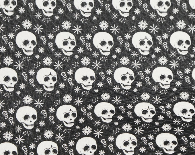 """Leather 8""""x10"""" WHITE Skulls on BLACK Cowhide 3-3.5oz/1.2-1.4mm PeggySueAlso™ E4601-13 Hides available"""