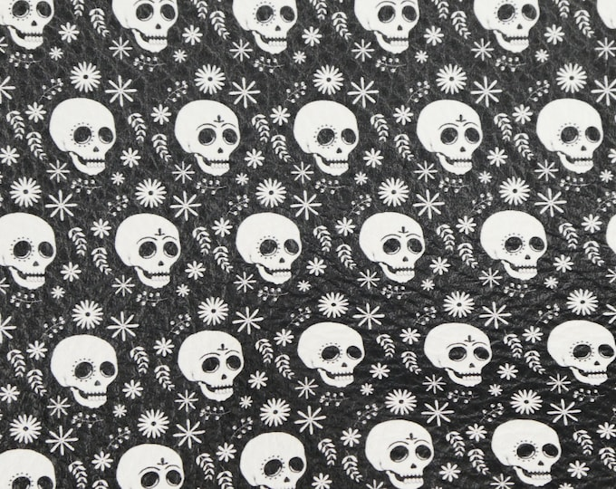 """Leather 12""""x12"""" WHITE Skulls on BLACK Cowhide 3-3.5oz/1.2-1.4mm PeggySueAlso™ E4601-13 Limited"""