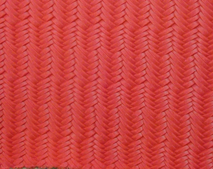 "New Die Lot Leather 12""x12"" Braided ITALIAN  Fishtail STRAWBERRY Red Cowhide 3 oz / 1.2 mm PeggySueAlso™ E3160-39"