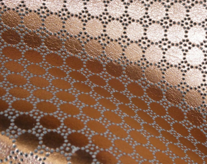 "Metallic Leather 5""x11"" Swiss Dot Perforated ROSE GOLD on Tan or gray Cowhide 3.5 oz / 1.4 mm PeggySueAlso™ E7100-10 Hides available"