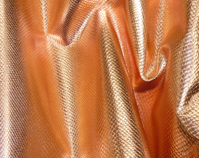 "Metallic  Leather 8""x10"" Amazon Cobra PENNY Copper Small Pattern  Embossed Cowhide Leather 2.5 oz / 1mm PeggySueAlso™ E2846-02"