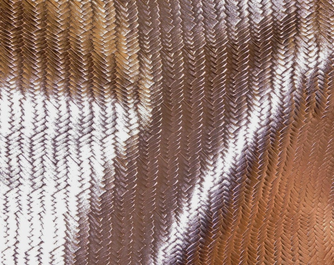 "Metallic Leather 8""x10"" Braided Fishtail ROSE Gold Cowhide 3-3.5oz /1.2-1.4 mm PeggySueAlso™ E3160-16 Hides Available"