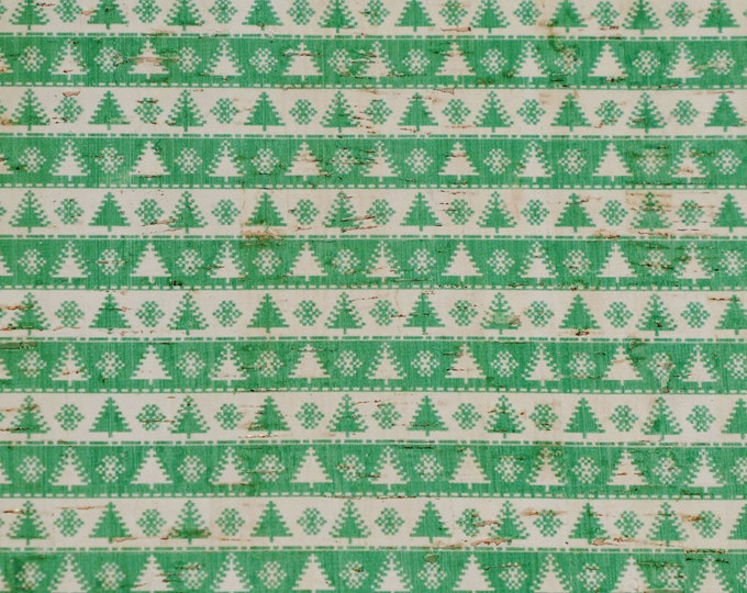 "Cork 12""x12"" CHRISTMAS GREEN Trees / White Snowflake Stripes on CORK glued to Leather for body/strength Thick 5oz/2mm PeggySueAlso™ E5610-84"