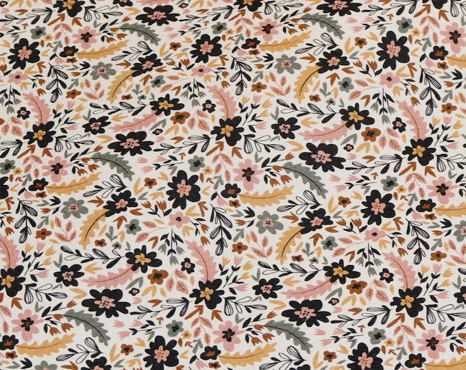 Leather 3-4-5 or 6 sq ft GENTLE SUMMER Floral / Flowers on White Cowhide 3-3.5 oz/1.2-1.4 mm PeggySueAlso™ E2508-05
