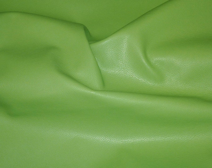 """Leather 8""""x10"""" Divine LIME GREEN Top Grain Cowhide 2-2.5 oz/.8-1 mm PeggySueAlso™ E2885-03 Full hides available"""