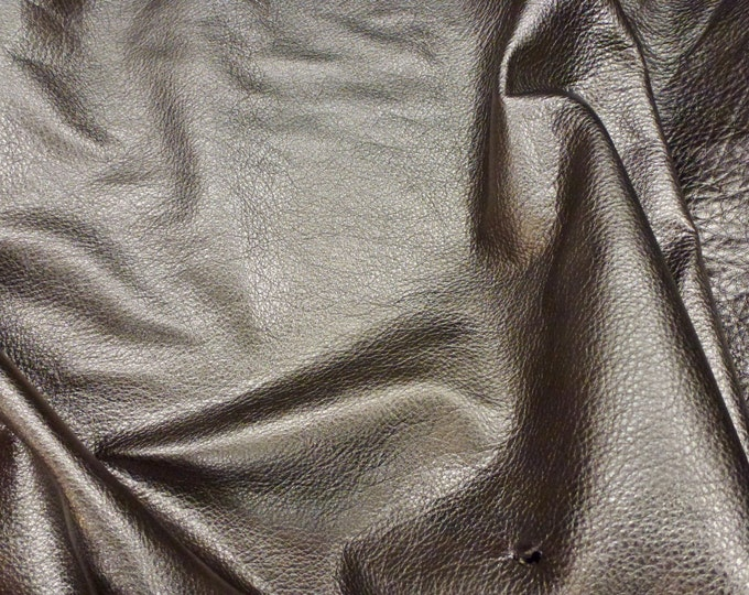 Metallic Leather CLOSEOUT color Pebbled PEWTER soft cowhide - shows the grain - 3-3.25 oz / 1.2-1.3 mm #910 PeggySueAlso™ E4100-09