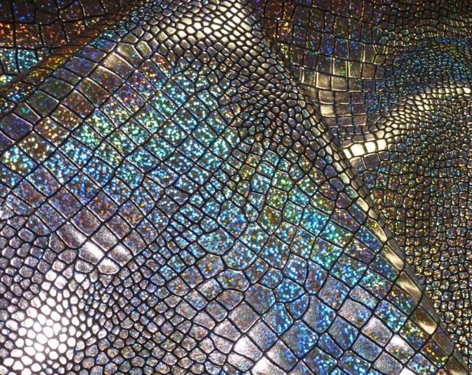 "Leather CLOSEOUT 12""x12""  Iridescent Glitter SILVER Mosaic on BLACK Croco Cowhide 2.5-3 oz / 1-1.2 mm  PeggySueAlso™"