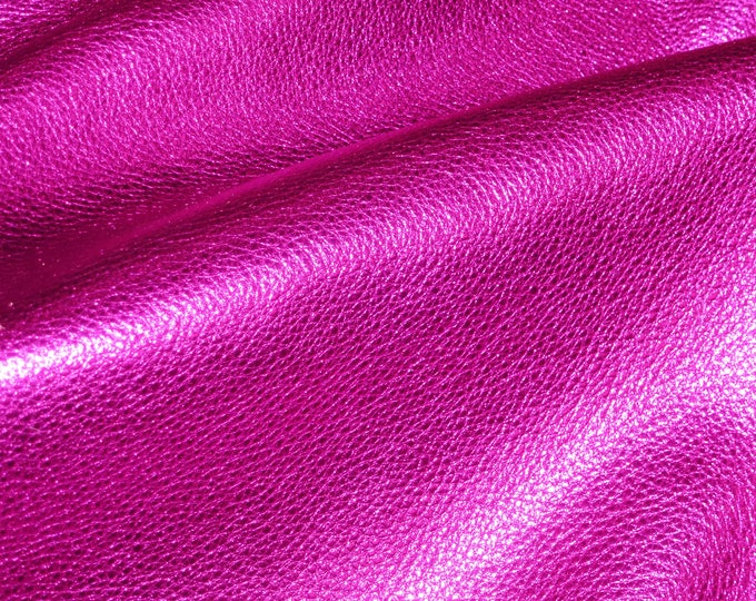 HOT PINK Pebbled Metallic 3 or 4 or 5 or 6 sq ft shows the grain cowhide Leather 2.5-3 oz/1-1.2 mm E4100-12 Full hides available