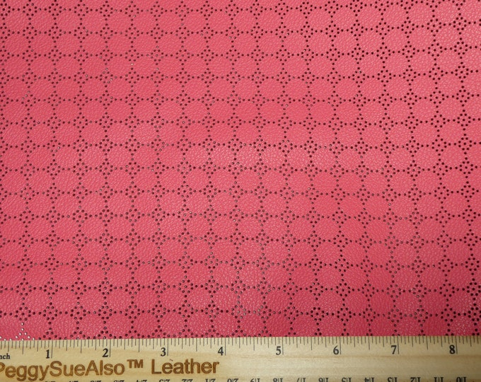 "Its BACK! 12""x12"" Swiss Dot Perforated Dark CORAL / SALMON Cowhide Leather 3 oz / 1.2 mm PeggySueAlso™ E7100-11"