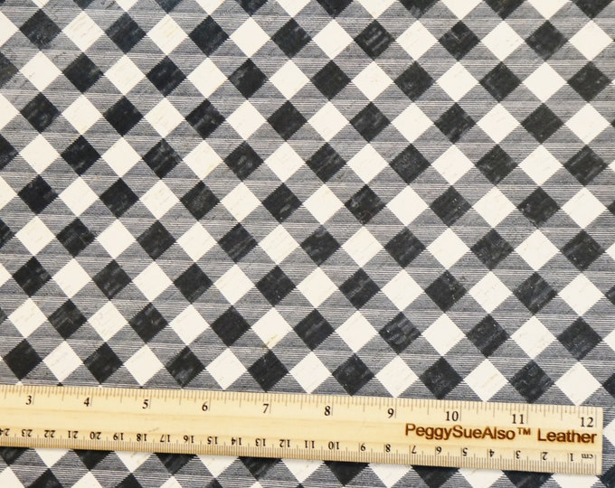"""NeW VERSION 8""""x10"""" BLACK & WHITE Buffalo Plaid C0RK applied to Cowhide Thick 5.5oz/2.2mm PeggySueAlso™ E5610-95 (not petite size! Original)"""