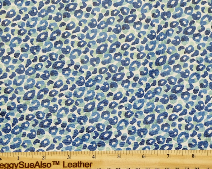 RESTOCKED Leather 3-4-5 or 6 sq ft BLUE LEOPARD Print on Soft Cowhide 3.25-3.5oz/1.3-1.5mm PeggySueAlso™ E1673-02