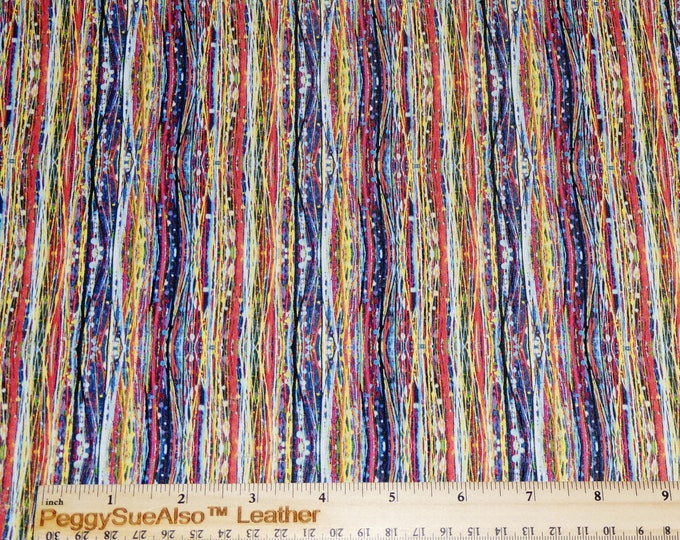 """CoRK 5""""x11"""" HIPPIE STRIPED Cork applied to cowhide Thick 5.5oz/2.2mm PeggySueAlso™ E5610-293"""