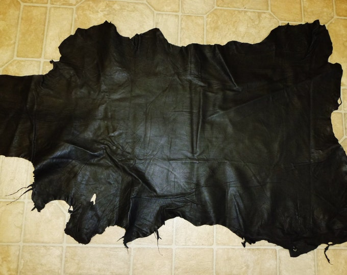 Leather 5 to 6 sq ft Black fine grained Goatskin Leather Hide / Hides 2-2.5 oz / 0.8-1 mm PeggySueAlso™