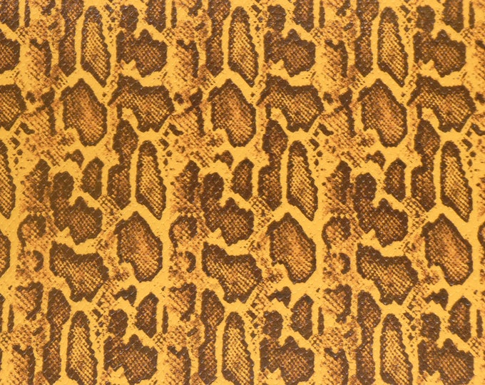 "Leather 8""x10"" TEXTURED Python Snake Cowhide MUSTARD and BROWN 3.25-3.5 oz /1.3-1.4 mm PeggySueAlso™ E1565-02 Hides Available"