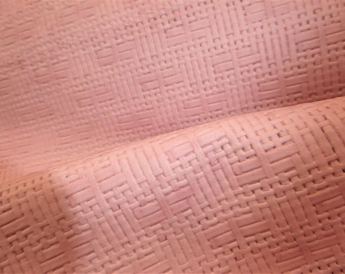 """Leather 12""""x12"""" Panama PINK Basket WEAVE Embossed Cowhide 2-2.5 oz/ 0.8-1 mm PeggySueAlso™ E8000-29 Limited (more on order)"""