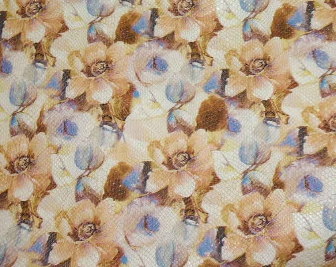 """Leather 12""""x12"""" TEXTURED MAGNIFICENT Garden Flowers on off WHITE Cowhide 2.5-2.75 oz/1-1.1 mm PeggySueAlso™ E3155-01 Hides Available"""